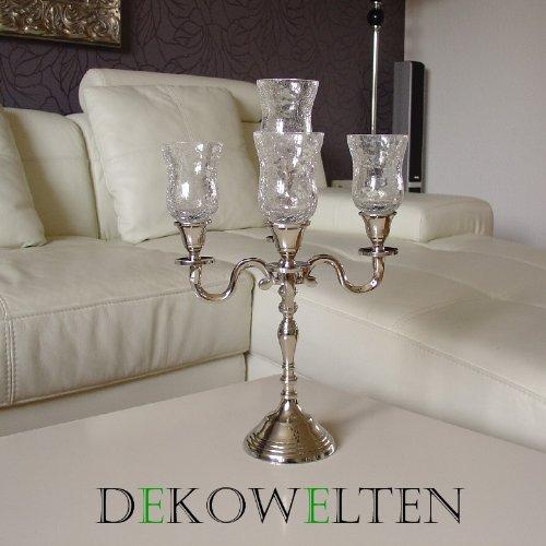 Kerzenleuchter Kerzenständer 38cm 5flammig mit Glasaufsatz und Samtfuß
