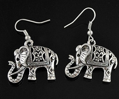 fulla2116de plata tibetano nette Grasas schnitzen Elefantes baumeln Pendientes