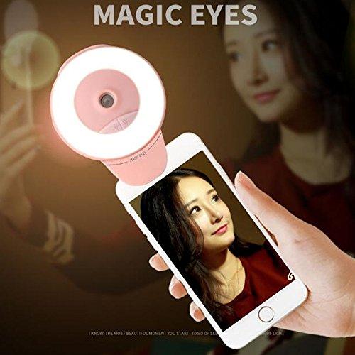 BESTOOL 2-in-1 Facial Mist Sprayer+Selfie Ring Licht,100 Lumen Clip Selfie Kamera Licht LED wiederaufladbare Schönheit Nacht Fill Licht für IPhone,Portable Mini Wasser Auffüllen (Nebel Maschine Auto)