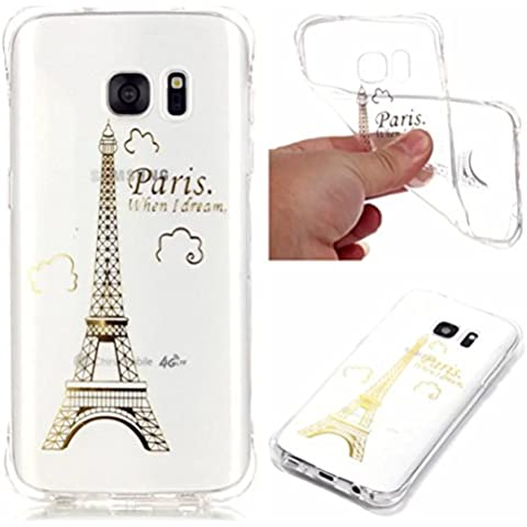 TKSHOP Shell Case Cover Per Samsung Galaxy S7 Edge Custodia TPU Gel Silicone Gomma Flessibile Sottile Fina Invisibile Ultra Thin Slim - modello Bronzing Torre Eiffel