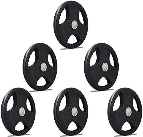 TNP Accessories® Rubber Olympic Radial TRI-GRIP Hammertone Disc Weight Plates EZ Bar Curl Barbell...