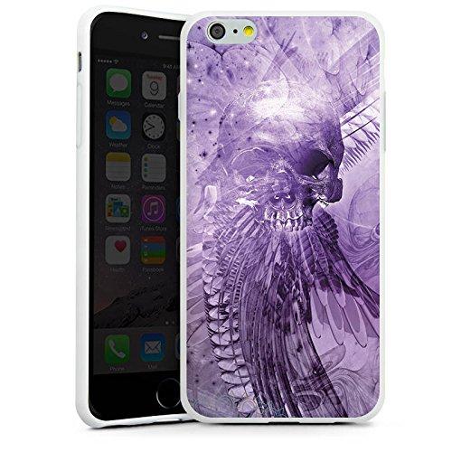 Apple iPhone X Silikon Hülle Case Schutzhülle Skull Totenkopf Lila Silikon Case weiß
