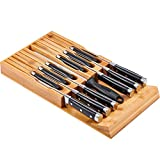 Utoplike Messerblock aus Bambus, Schubladeneinsatz, Für 12 Messer und 1 Wetzstahl, Drawer Knife Block