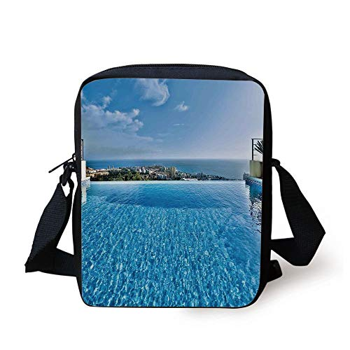CBBBB House Decor,View from Infinity Swimming Pool Tropical Seaside Villa Seascape Travel Destination, Print Kids Crossbody Messenger Bag Purse