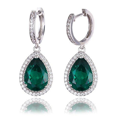 JewelryPalace Pendientes con Esmeralda y Circonita en plata de ley 925