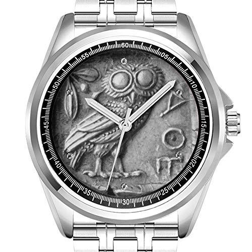 Personalisierte Herrenuhr Mode wasserdicht Uhr Armbanduhr Diamant 617. Griechische Eule