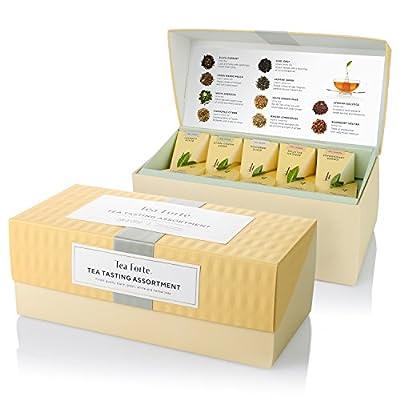 Assortiment de dégustation de thés Tea Forte Boîte de présentation Échantillonneur de thés, assortiment de thés variés, 20 sachets de thé pyramidaux à infuser - Thé noir, thé blanc, thé vert, tisane