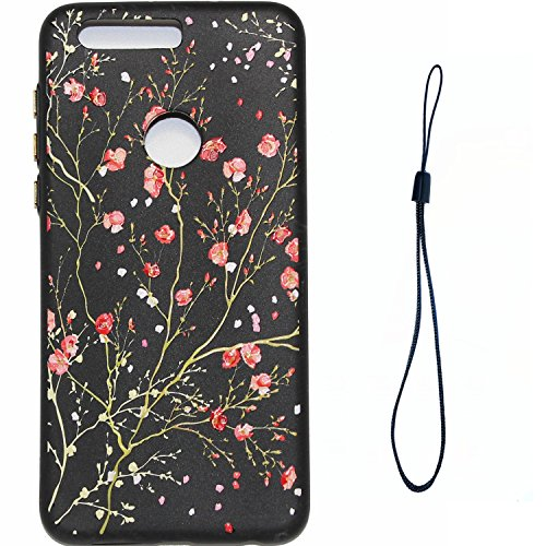 Honor 8 Hülle, Huawei Honor 8 Schutzhülle, Huawei Honor 8 Handyhülle, BONROY Ultra-dünn [Perfekte Passform] TPU Silikon Hülle Bunte Muster Case Cover TPU Bumper Flexible Schutzhülle Soft Back Cover Hülse Telefonkasten Protective Gummi Abdeckung Schale Etui Handy-Tasche Backcover Bumper Cover Shock-Absorption Bumper and Anti-Scratch Clear Back for Huawei Honor 8 - Kirschblüten