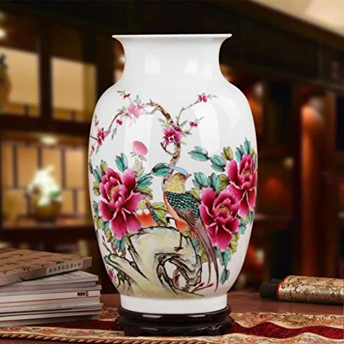 S-AMEI Vase, Bodenvase Handgefertigte Keramik-Vase, China Blumenvase for Wohnzimmer, Vasen for Blumen 40,5 * 26cm, Weiss