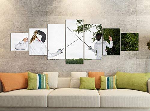 Leinwandbild 7 Tlg 280x100cm Sport Fechten Rapier Maske Baum Leinwand Bilder Teile teilig Kunstdruck Druck Vlies Wandbild mehrteilig 9YB418, Leinwandbild 7 Tlg:ca. 280cmx100cm