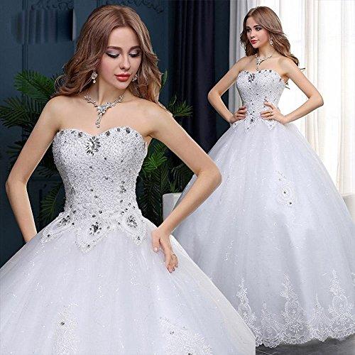 ZPD Sommer Hochzeit Mode Rohr Top Schlank Handgemachte Diamant Brautkleid große Größe,Weiß,XL
