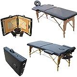 MERVY- OFFRE SPECIAL NOEL - IMBATTABLE - Table de massage pliante 2 zones en bois avec panneau Reiki + accessoires et housse de transport - 2 coloris - Norme CE *Noire*