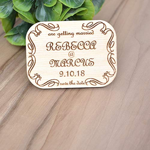 CPWood Save The Date Hochzeits-Magnete, Holz, Save The Date, personalisierbar, Save The Date (Holz-save The Date)