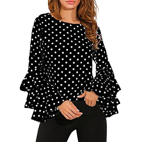Vovotrade Polka Dots Flare Ärmel Langarmshirts für Frauen (Size:2XL, Schwarz)