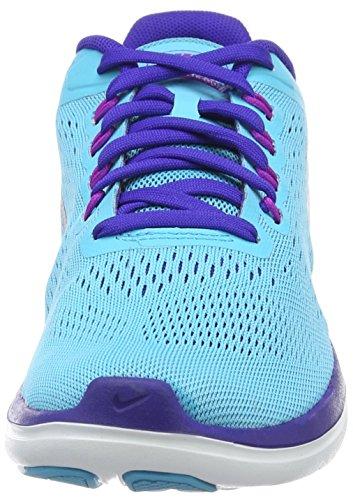 Nike Flex 2016Rn, Chaussures de Running Compétition Femme, UK Bleu (Azul/Gmm Bl / Mtllc Slvr-Cncrd-Hypr V)