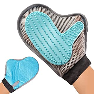 SeeKool Pet Bürste Handschuh, Haustier Grooming Bürsten Fellpflege Handschuh für Hundekatze Pflegenbürste Tierhaar-Handschuh Fingerhandschuhe für einfache Haarentfernung