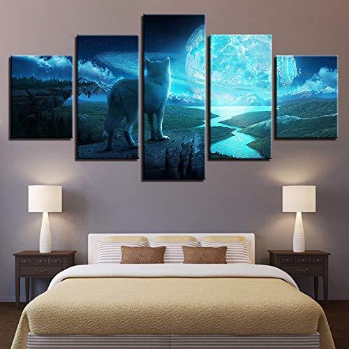 xzfddn Leinwand Wandkunst Bilder Home Decor HD Drucke 5 Stücke Vollmond Nachttier Wolf Gemälde Abstrakte Landschaft Poster