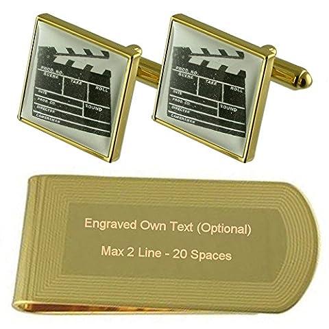 Directeur Film Clapper Board Gold-tone de manchette argent gravé Collier Cadeau