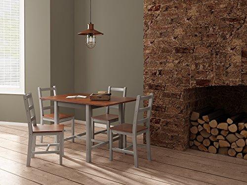 Holz Esszimmer Tisch Stühle (Panana Esstisch Stuhl Set Klapptisch Essgruppe Tischgurppe, Esstischgruppe Sitzgruppe Esszimmergarnitur, 119 x 75 x 73 CM, Tisch und 4 Stühle, Holz - Braun + Grau)