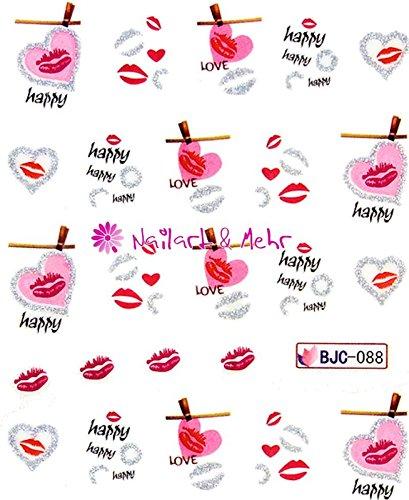 Autoadhesivas con fondo de pantalla digital lentejuelas #FL-53~~brillo y de coloures~~corazón, boca, beso boca, Love, Happy, labios, día de San Valentín