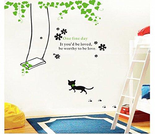 Cat Swing Wandaufkleber (Abnehmbar, Wasserdicht, Grün) für Wohnzimmer Schlafzimmer Büro Wohnheim Hintergrund (Cat Perücke)