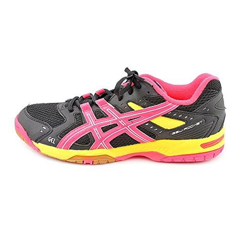 Asics Gel-Rocket 6 Synthétique Chaussure de Tennis Black-Hot Pink-Neon Yellow
