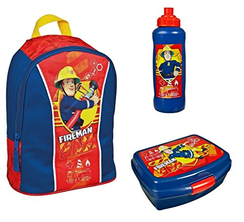 Rucksack Set Feuerwehrmann Sam 3tlg. mit Brotdose und Trinkflasche z.B. für den Kindergarten / Krippe FSBT7631