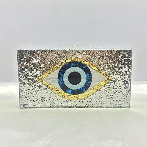 Auge, Acryl, Dinner - Tasche, Silberpailletten, Hand - Tasche silvery
