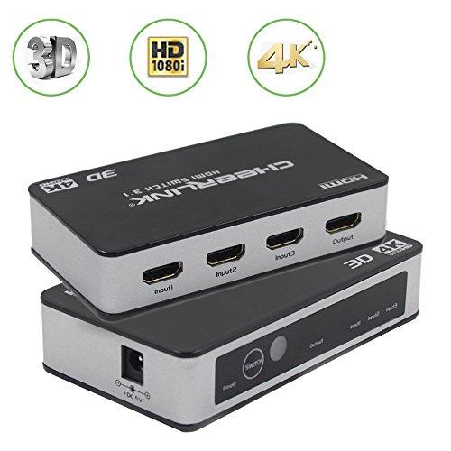 Top-Spring elegante High-Speed HDMI-Umschaltbox, 3 Eingänge, Schalterkonsole mit Fernbedienung und Universal-Netzteil, mit 3D-, 4K-Unterstützung (Hdmi-switch Universal-fernbedienung)