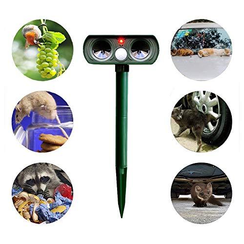 Katzenschreck Ultraschall Solar- leistungsstarker Ultraschall, LED-Leuchten, wasserdicht, solare Aufladung, um Hunde, Katzen, Hirsche, Vögel, Mäuse, Schlangen und Bären effektiv zu vertreiben. -
