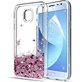 Coque Samsung Galaxy J3 2017 avec Film de Protection d'écran HD, LeYi Antichoc Paillette Liquide 3D Sables Mouvants Transparente TPU Silicone Gel Housse Etui pour Samsung Galaxy J3 2017 ZX Rose d'or