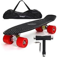 """(UPGRADE VERSION)Yorbay 22"""" monopatín skateboard retro con la bolsa y T-herramientas ABEC- 7 Rodamiento Rueda PU de 59MM hasta 100kg (tabla negra/ruedas rojas)"""