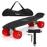 """Yorbay 22"""" Mini Cruiser Skateboard Cuscinetti a sfera ABEC-7 Vari colori e diversi tipi di ruote a scelta (pannello nero ruote rosse PU)"""