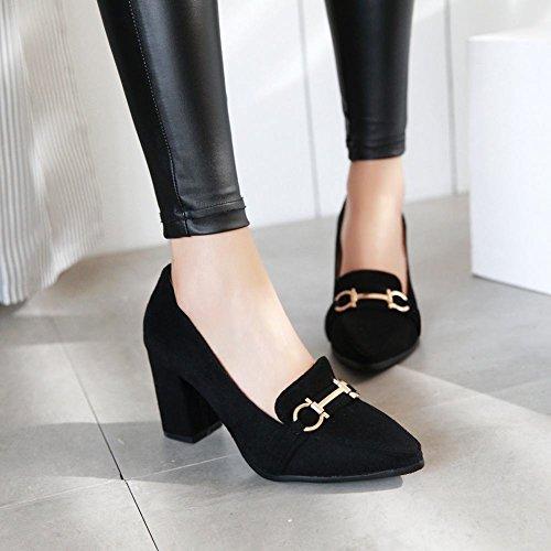 Mee Shoes Damen bequem chunky heels Nubuck Pumps Schwarz