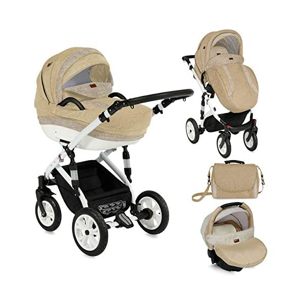 Lorelli Mia 3 in 1 Pneumatic tyre Pushchair, car seat, Baby Bath, Sports seat, Colour:Beige Lorelli matching easy to assemble car seat, baby bath, sports seat, mosquito protection, rain cover and diaper bag included in the scope of delivery Pneumatic tires (rubber tires) and suspension for easier driving easily foldable - adjustable and extendable sunroof with window and bag 1