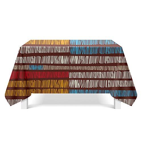 Daesar Polyester Tischdecke Abwaschbar Party 140x220CM Streifen Geometrie Tischtücher Party Modern -