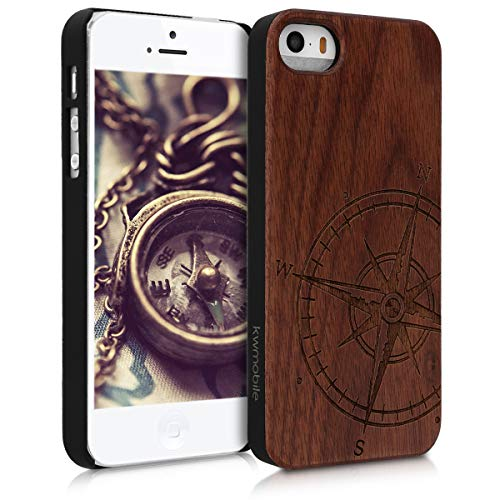 kwmobile Apple iPhone SE / 5 / 5S Hülle - Handy Schutzhülle aus Holz - Cover Case Handyhülle für Apple iPhone SE / 5 / 5S