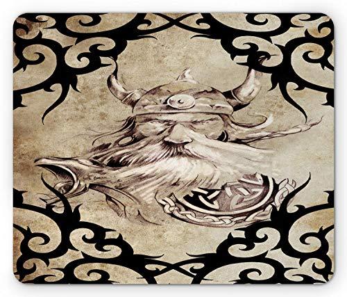 ttoo-Muster mit Alten Wikinger Krieger Silhouette bärtige Figur Vintage-Effekt, Standardgröße Rechteck rutschfeste Gummi-Mousepad, Beige Schwarz,Gummimatte 11,8