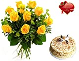 #7: Valentines Day Gift of Fresh Flower Bouquet (Bunch Of 12 Yellow Roses) and Cake