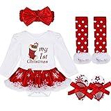 Tiaobug Baby Mädchen Weihnachten Kostüm Set Outfits Body Strampler mit Tutu Rock und Stirnband Weihnachtskostüm mit Spruch Mein erstes Weihnachten 4er Babykleidung 9-12 Monate