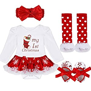 iiniim 4pcs Infant Baby Girls Headband Romper Dress Leg Warmers Shoes Outfits