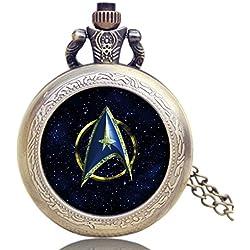 "STAR TREK Blue Logo Antiqued Bronze Effect Retro/Vintage Case Men's Quartz Pocket Watch Necklace - On 32"" Inch / 80cm Chain"
