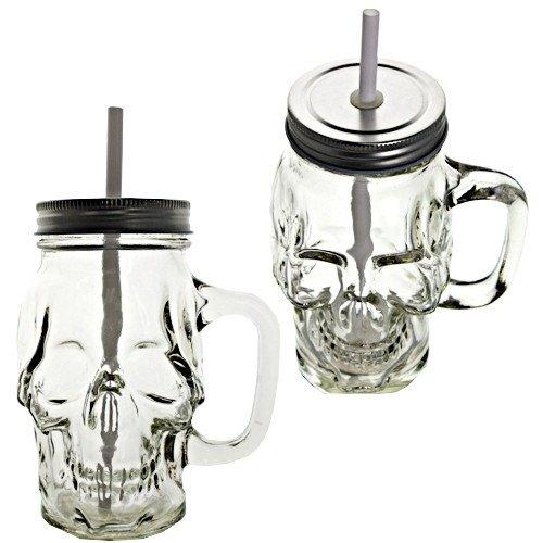 Neuheit Glas Skull Face Trinken Tasse Mason Jar mit Glas Griffe Klauenhammer, mit Deckel und Strohhalme 4Stück