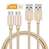GlobaLink Micro USB Cable Android, 2Pack 2M Nylon Braided Tangle Free Phone Charger, Lifetime Warranty Series Android Smartphone Charging and Syncing Wire, Quick Charging and High Speed Data Transfer Cord for Android, Samsung, LG, HTC, Motorola, Blackberry and More - Gold