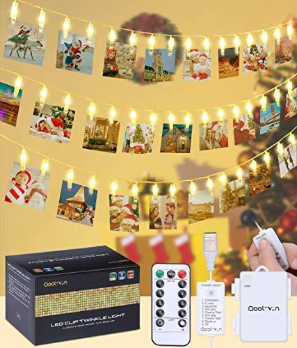 LED Lichterkette Fotoclips Lichterketten - QooLivin 40 Foto Clips 5M Länge Warmweiß Dekoration Foto Lichterkette mit USB Port Ladung und Batteriebetrieben für Romantische Dekoration
