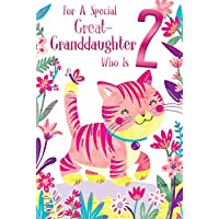 Great Granddaughter 2nd Age 2 Today Cute Cat Happy Birthday Card Lovely Verse