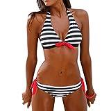 Damen Bikini Set Covermason Gestreift Bademode Push Up Gepolstert Bikini Neckholder (L, Schwarz)