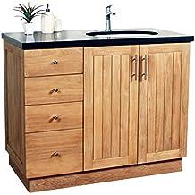 meuble salle de bain en teck massif et granit 105 cm badalona vasque en - Tablette Salle De Bain 120 Cm