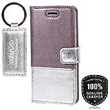 Pearl Violett/Silber - Duo Premium Vintage Ledertasche Schutzhülle Wallet Case aus Echtesleder Farbe Mehrfarbig für Microsoft Lumia 950 XL