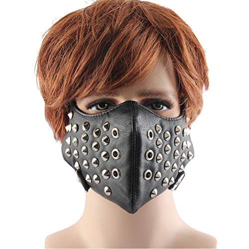 Jiahe Locomotive Half Face Mask, Leder Bike Cycle Motorrad Schutzreit Gesichtsmaske Punk Rock Rivet Gesichtsmaske-one Size (Halloween Makeup-tipps Skelett)